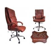 Офисное массажное кресло EGO BOSS EG1001 в комплектации ELITE (натуральная кожа) бордо