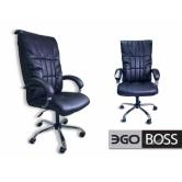 Офисное массажное кресло EGO BOSS EG1001 в комплектации ELITE (натуральная кожа) антрацит