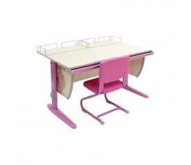 Парта ДЭМИ 120х55 см с рисунком + 2 задние приставки СУТ-15-01P со стулом СУТ-01