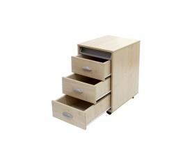 Тумба выкатная на 3 ящика + выдвижной пластиковый пенал ТУВ-02